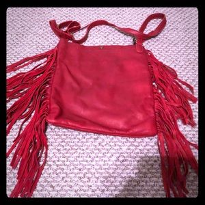 Lucky Brand Red Leather crossbody fringed purse